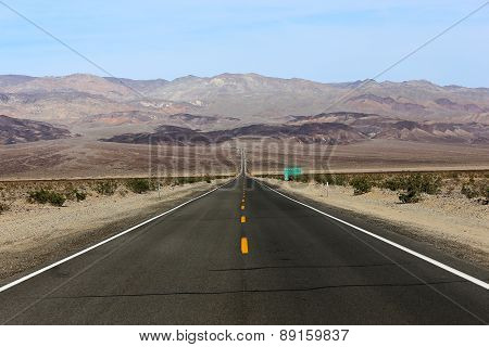 road lines in death valley, california, usa
