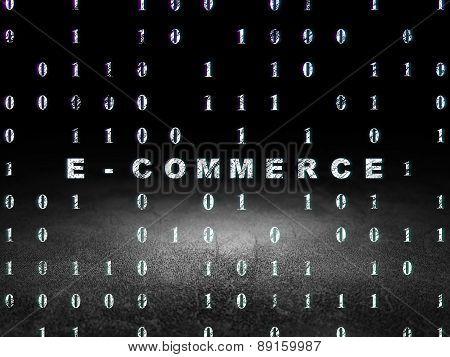 Finance concept: E-commerce in grunge dark room