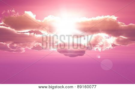 3D render of clouds on purple sky