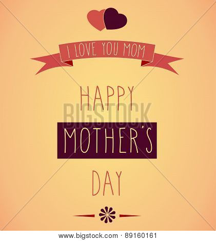 Hand Drawn Happy Mother's Day retro poster