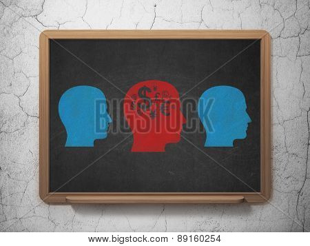 Finance concept: head with finance symbol icon on School Board background