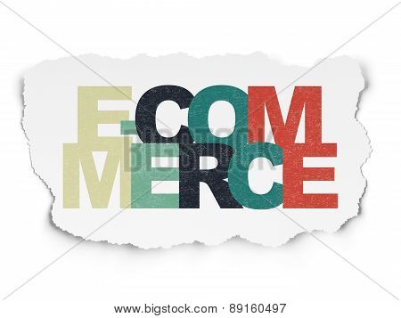 Business concept: E-commerce on Torn Paper background