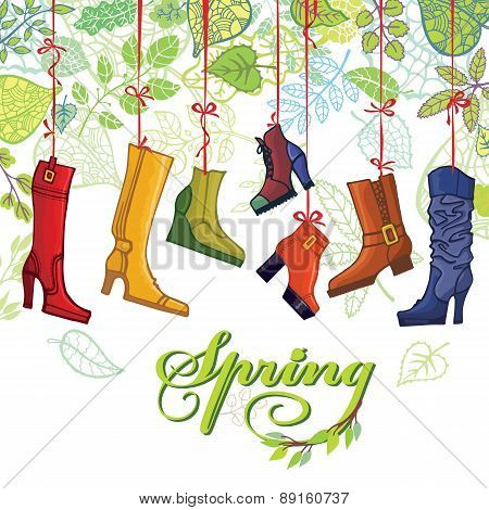 Fashionable colored women's boots,shoes,spring leaves