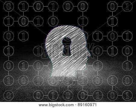 Finance concept: Head With Keyhole in grunge dark room
