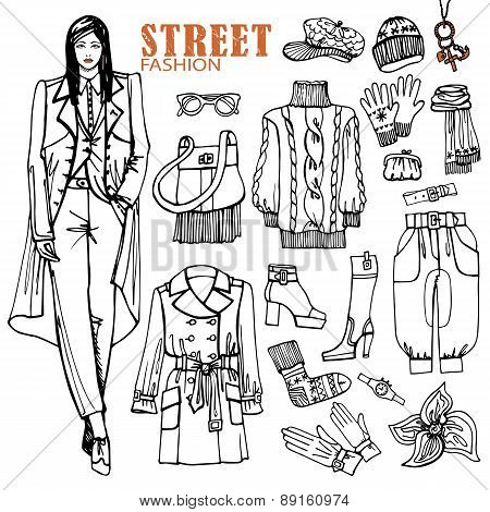Fashion girl and street clothing set.Sketch style.Outline
