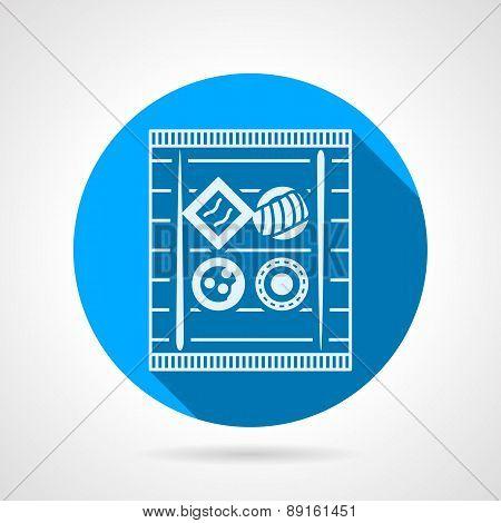 Sushi tray flat round vector icon