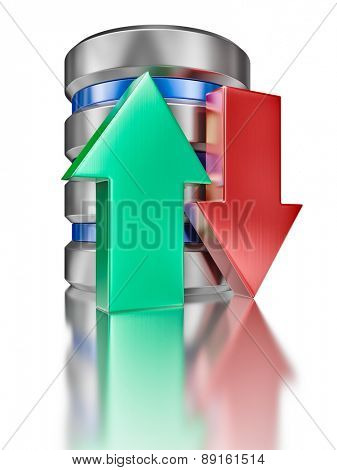 Database upload download concept - hard disk drive data storage database icon symbol with arrows isolated on white background. Low viewpoint wide angle