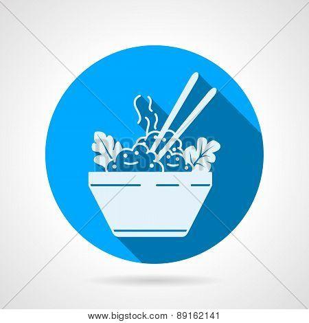 Rice dish flat round vector icon