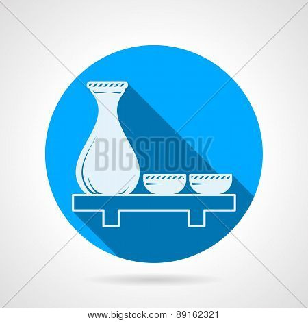 Sake set flat round vector icon