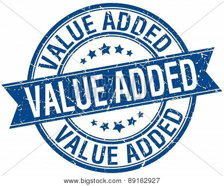 Value Added Grunge Retro Blue Isolated Ribbon Stamp