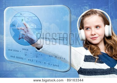 Girl Calculating Earth Radius On Digital Screen
