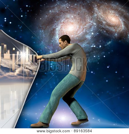 Man stretches space time to show power beneath Elements of this image furnished by NASA