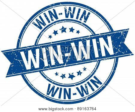 Win-win Grunge Retro Blue Isolated Ribbon Stamp
