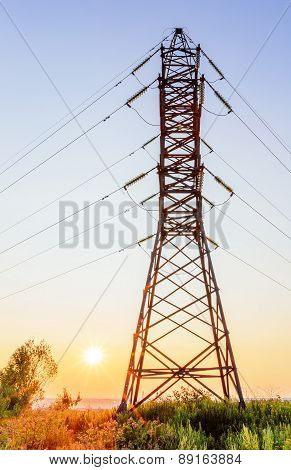 High Voltage Line At Sunset