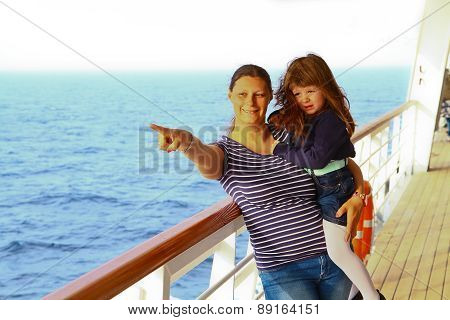 Mother And Daughter On A Cruise Indicates Something Interesting In Sea