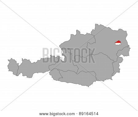 Map Of Austria With Flag Of Vienna
