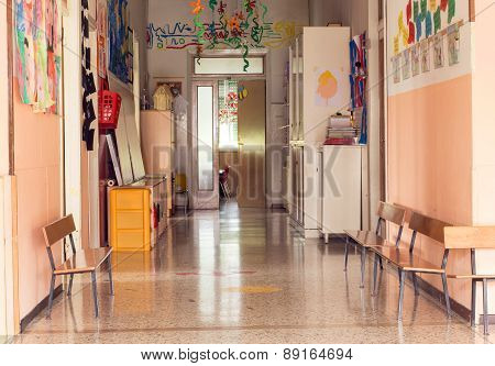 Hallway To A Nursery Kindergarten Without Children