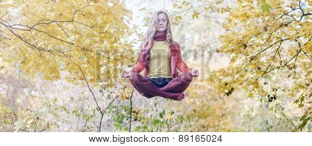 Levitation portrait of beautiful girl