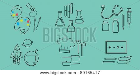 Occupation Flat Icons On Pastel Green Color Background