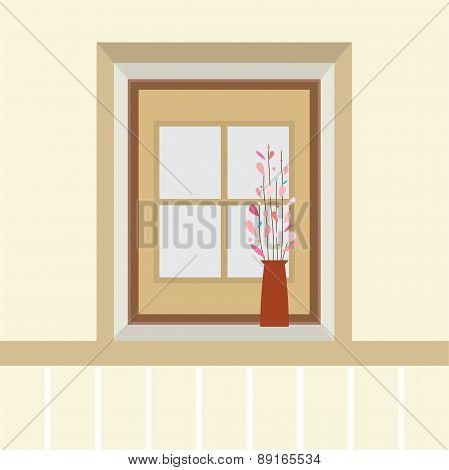 Flowers In Vase On The Windowsill.