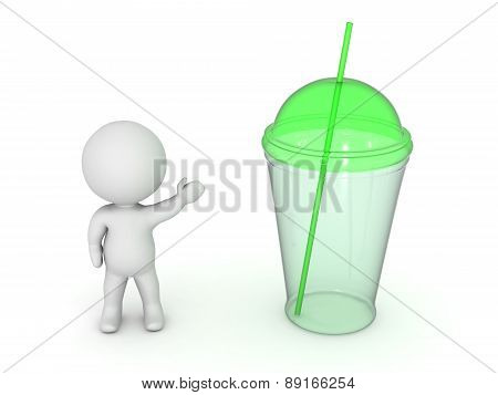 3D Character Showing Cup with Straw