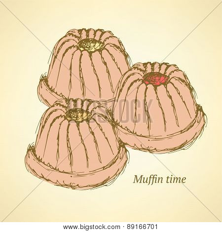 Sketch Tasty Muffin In Vintage Style