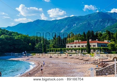 View On Beach And Mountains In Montenegro