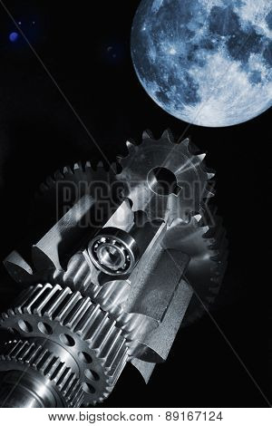 aerospace cogs and gears, rocket-parts and space concept