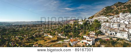Panorama Of White Village Of Mijas. Costa Del Sol, Andalusia. Spain