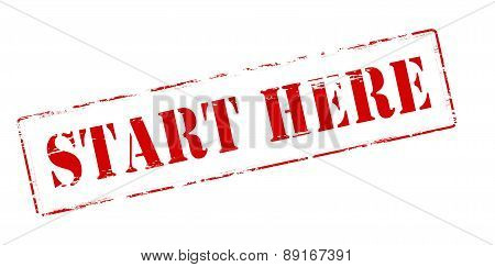 Rubber stamp with text start here inside vector illustration