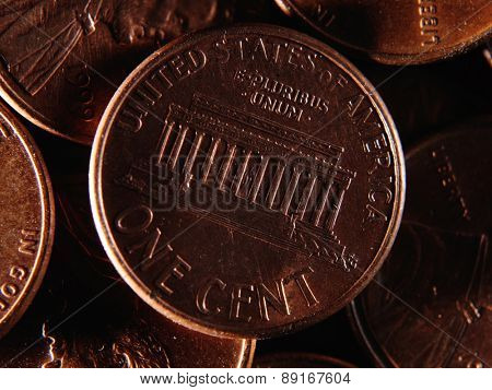 American one cent background. Close up
