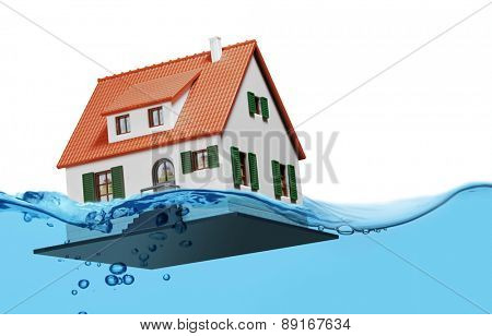 Toy house sinking underwater on a white background showing flooding concept