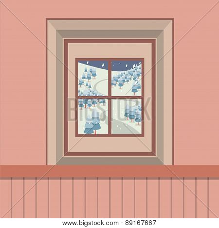 Natural Landscape View Through The Window.