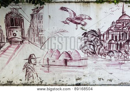 Graffiti On A Wall In Istanbul