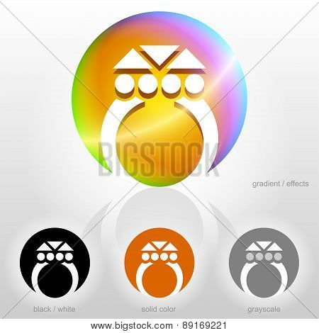 Stylized Symbol Of Ring With Gemstone