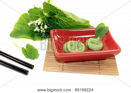 Wasabi With Chopsticks, Leaves And Blossoms