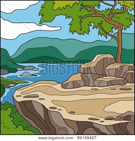 Vector Illustration, Natural Background (cliff Overlooking The Sea)