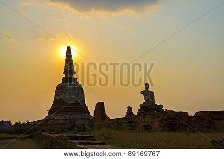 Sunset Ancient Old Pagoda