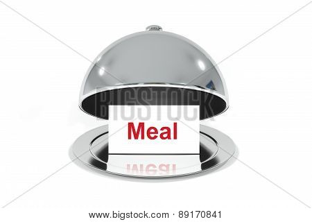 Opened Silver Cloche With White Sign Meal