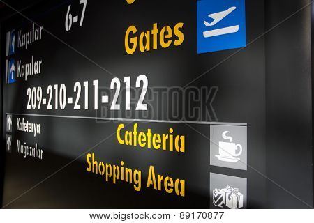 airport gates information board