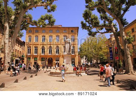 Aix-en-provence, France - July 1, 2014: Cours Mirabeau, Aix-en-provence, Provence,  France - July 1,