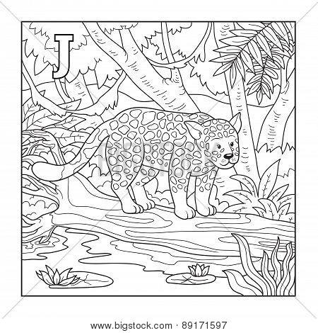 Coloring Book (jaguar), Colorless Illustration (letter J)