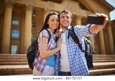 Travel lovers making their selfie during journey
