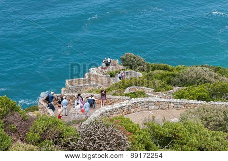 Tourists Enjoying The View At Cape Point