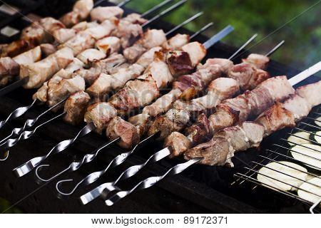 eating kebabs on the grill