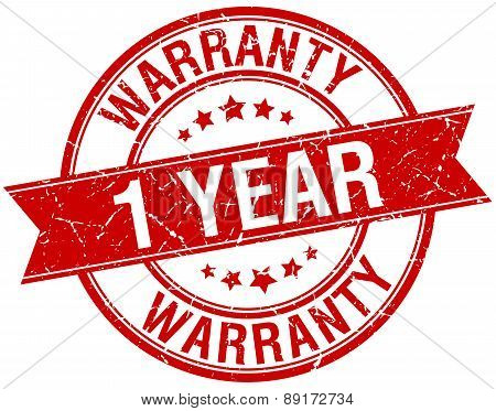 1 Year Warranty Grunge Retro Red Isolated Ribbon Stamp