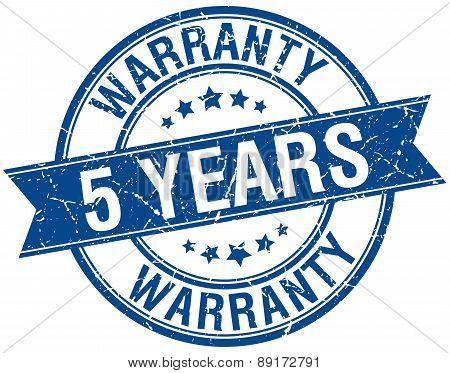5 Years Warranty Grunge Retro Blue Isolated Ribbon Stamp