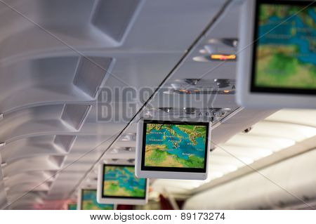 Monitors in aeroplane cabin