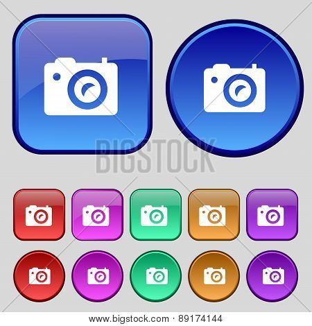 Digital Photo Camera Icon Sign. A Set Of Twelve Vintage Buttons For Your Design. Vector