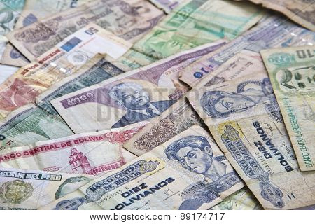 Foreign Money, money banknotes from several Asian south american countries isolated